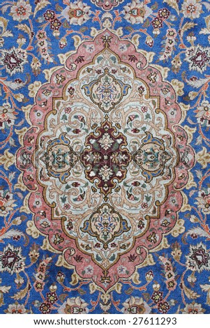 fine detail of persian classic carpet background - stock photo