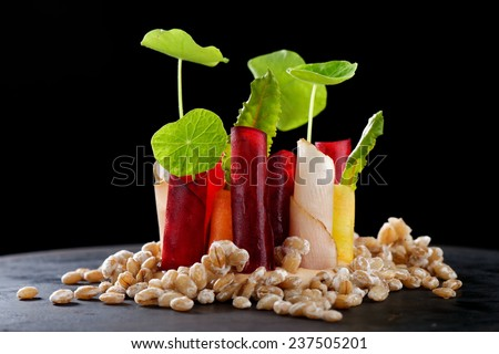Fine dining appetizer in a gourmet restaurant, vegetable on barley with sauce - stock photo