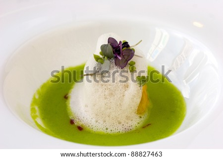Fine dining Chinese dim-sum siew-mai with foam - stock photo