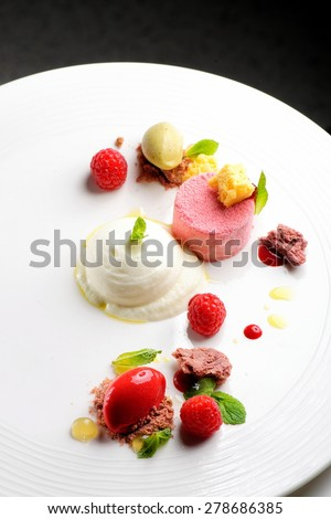 Fine dining dessert, Raspberry Parfait, ice cream, white chocolate mousse and spices - stock photo