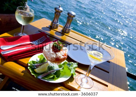 Fine Dining on the Water - stock photo