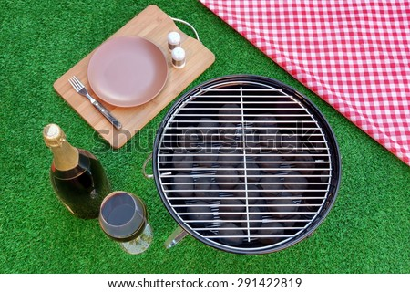 Fine Dining With Champagne Wine On The Summer Fresh Lawn. Outdoor Backyard BBQ Holiday Grill Party Or Weekend Picnic Concept. Overhead View - stock photo