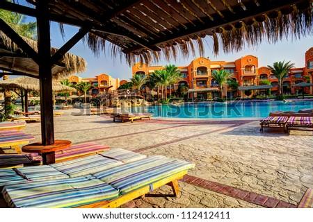 Fine egyptian resort early morning. - stock photo