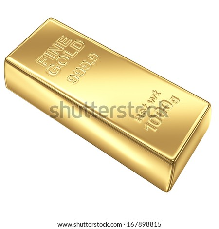Fine Gold bank bar isolated on white background