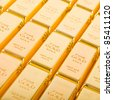 Fine gold 999,9. Set of gold ingots. - stock photo