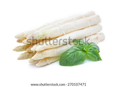 Fine grown white asparagus - stock photo