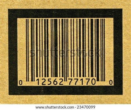 Fine image close-up of classic barcode on cardboard - stock photo