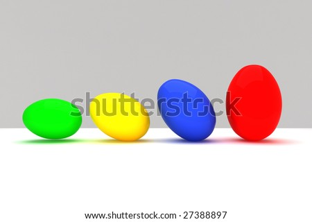 fine image 3d of colorful eggs, easter background