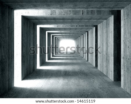 fine image 3d of concrete tunnel and lateral lights, abstract background - stock photo