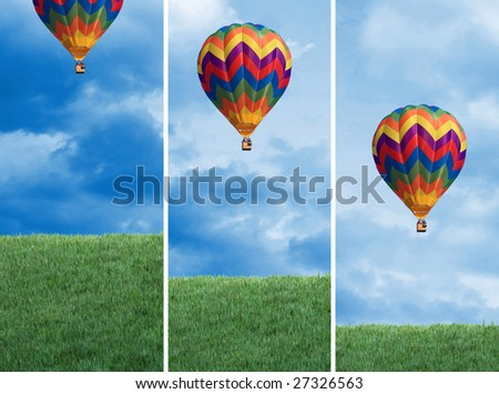 fine image 3d of green lawn and sky background WITH AIR BALLOON - stock photo