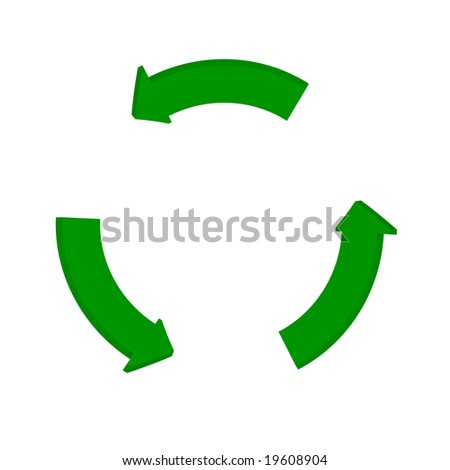 fine image 3d of green recycle arrow - stock photo