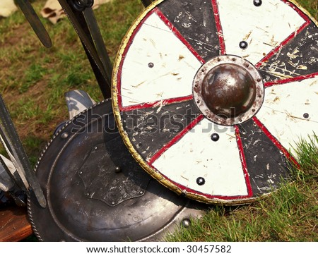 fine image of ancient shield medioeval background - stock photo