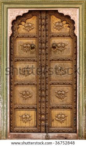 fine image of classic ancient door background - stock photo