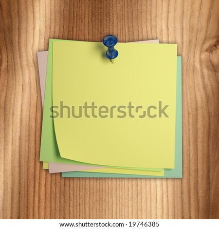 fine image of classic postit on wood background
