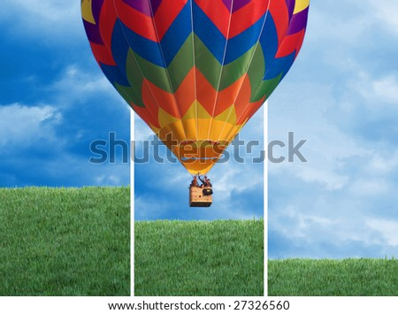 fine image of colorful hot air balloon background - stock photo