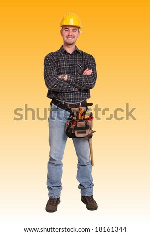 fine image of friendly young man tools