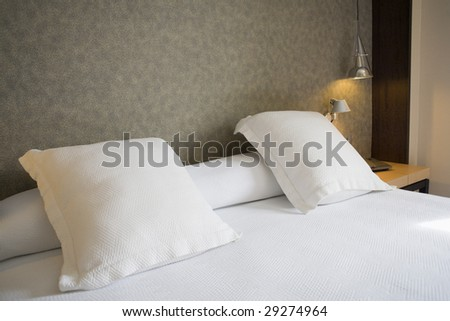 fine image of modern bed room - stock photo