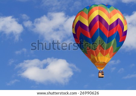 fine image of white clouds and blue sky and air balloon - stock photo