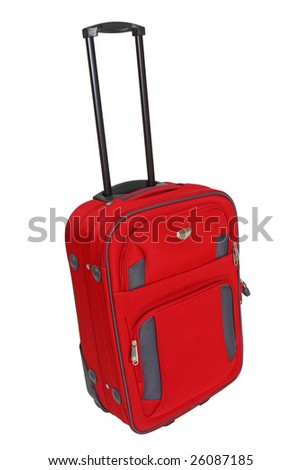 fine isolated red suitcase on white background - stock photo
