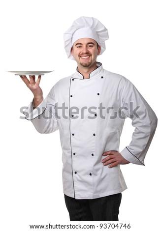 fine portrait of caucasian chef - stock photo