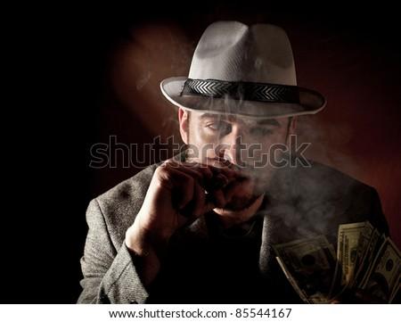 fine portrait of caucasian gangster - stock photo