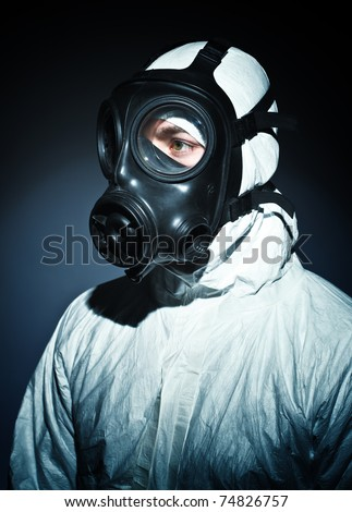 fine portrait of man with classic mask gas