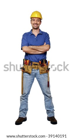 fine portrait of young caucasian handyman isolated on white background