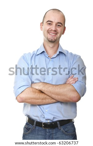 fine portrait of young caucasian man isolated on white background - stock photo