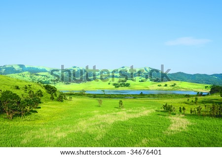 fine rural landscape with lake in Hasan Primorye of Russia