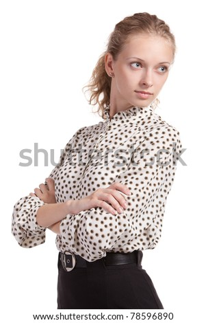 Fine sexy woman sadly looks aside - stock photo