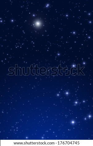 Fine shaped stars on a blue, night sky. - stock photo