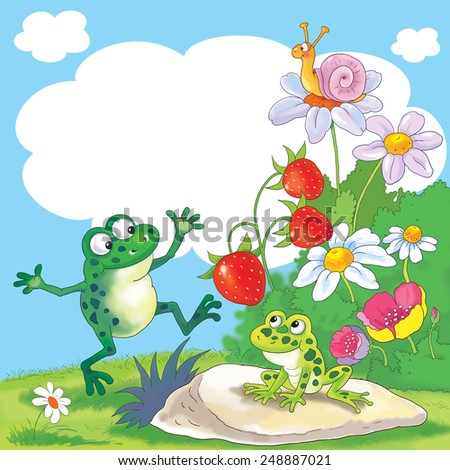 Fine summer day. Two cute frogs, a snail, flowers and strawberry. Illustration for children. Greeting card with free space for your text - stock photo