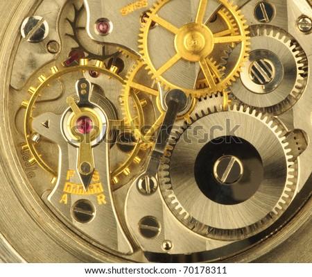 Fine Swiss precision clockwork. - stock photo