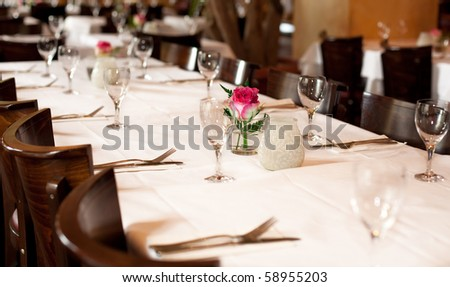 Fine table setting in gourmet restaurant, full frame