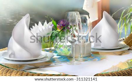 Fine table setting in gourmet restaurant/Table Setting/Table Setting - stock photo