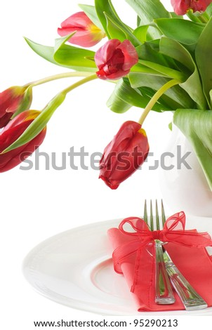 Fine table setting with tulip - Spring time. Isolated on white background - stock photo