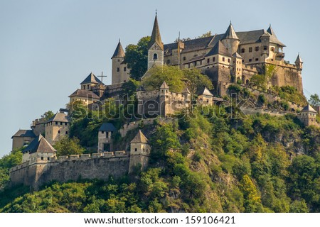 Fine view of Hochosterwitz Castle, one of Austria's most impressive medieval castles dating back to the 9th centtury and being one of the landmarks of Carinthia. - stock photo