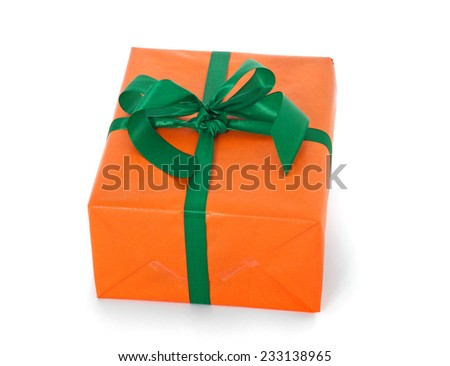 Fine wrapped present. All on white background - stock photo