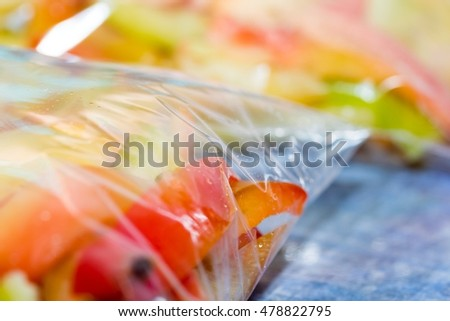 Finely chopped bell pepper closeup