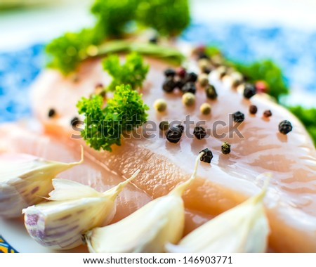 Finest chicken breast with fresh herbs and spicy pepper - stock photo