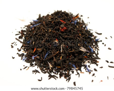 Finest quality black tea with summer fruits - stock photo
