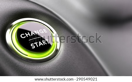 Finger about to press a change button. Concept of career development or changing life - stock photo