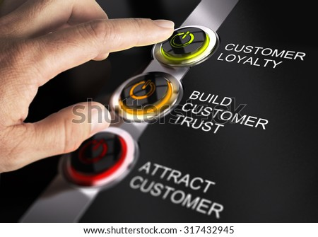 Finger about to press customer loyalty button. Concept for illustration of sales process.