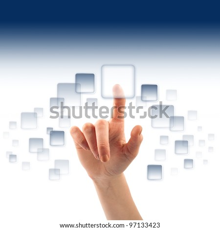 Finger and button on touch screen - stock photo