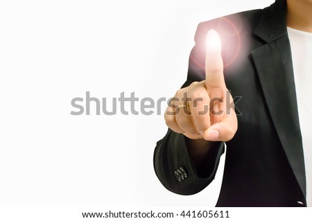 finger and light backgrounds - stock photo
