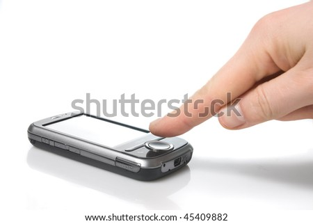finger and pda with touch screen isolated on white - stock photo
