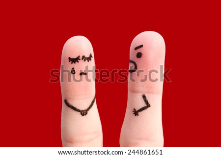 Finger art of a couple during quarrel. A man yells at a woman. Woman crying.  - stock photo