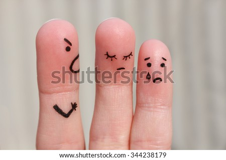 Finger art of family during quarrel. The concept of man scolds his wife and child, woman is sad, baby is crying - stock photo