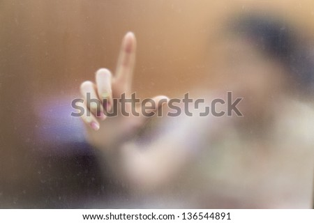 Finger blur as background on the mirror blur - stock photo