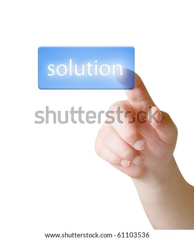 Finger choice Solution button isolated